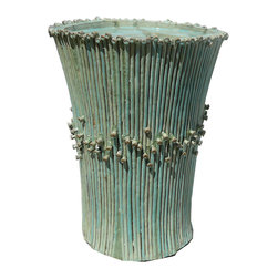 Golden Lotus - Chinese Ceramic Hand made Turquoise Fountain / Table Base - This is a hand made ceramic floor fountain display with light turquoise glaze. It has defective repair marks on the top and small part of the body. But it will work out well with some stone or beads to cover the marks on the top. It can be a nice fountain or table base with custom glass top.