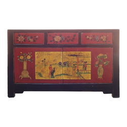 Golden Lotus - Chinese Black Red Lady Scenery 3 Drawer Sideboard Cabinet - This is a modern sideboard with oriental lady gathering scenery and flower bird graphic on a red & black combination background. It is good to be a console table, sideboard or buffet table.