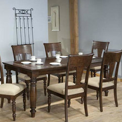 """ECI Furniture - """"San Antonio 36""""""""H Glass Tiled Table - Rustic Mahogany"""" - """"Classic dining at its best with a beautiful rustic mahogany finish and stunning glass inlaid accent on table top."""