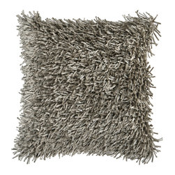 Frange Gris Pillow - This pillow is not only comfortable, it's fun to run your fingers over. With strokeable poly fringe, it'll make a quirky and stylish statement on your sofa.