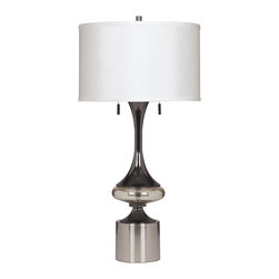 "Signature Design by Ashley - 31"" Set of 2 Marsha Table Lamps Chrome - A shiny chrome, mercury glass, and gunmetal finished metal table lamp topped with a light cream drum shade. Famous Brand Lamps feature distinctive and bold designs at super low LampsUSA prices. Each Famous Brand lamp features a unique vision of artistic beauty that perfectly accessorizes with your furniture. Most Famous Brand Table Lamps are sold in pairs so you can furnish an entire room instantly. Famous Brand designs are cutting-edge and spot-on with today's fashion trends. And because its Famous Brand, you will pay less than you expect. Search below to discover how to cast your home in the warm glow of an Famous Brand Furniture table or floor lamp."