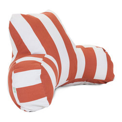Majestic Home - Outdoor Burnt Orange Vertical Stripe Reading Pillow - Now you can kick back and relax anywhere, inside or out, with this comfortable and supportive Reading Pillow. The Majestic Home Goods Indoor/Outdoor Reading Pillow provides back and head support that is perfect for many activities such as reading, working on your laptop or lounging with friends. Stuffed with a super loft recycled polyester fiber fill, the reading pillows zippered slipcover is woven from Outdoor Treated polyester and has up to 1000 hours of U.V. protection. The slipcover also zips off and is machine-washable.