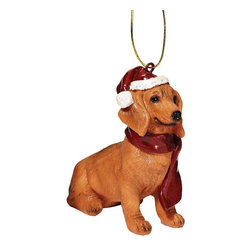 "EttansPalace - Dachshund Holiday Dog Ornament Sculpture - With a festive Santa hat and red scarf, this adorable Dachshund dog ornament has neither a ""bark"" nor a ""bite"" worth worrying over! Our Dachshund dog ornament is realistically sculpted, cast in quality designer resin and hand painted for the ""discriminating dog lover"". The perfect canine gift for Dachshund dog aficionados and a fun way to include your pets in holiday decorating! Approx. 2.5""W x 1.5""D x 3.5""H. .5 lb."