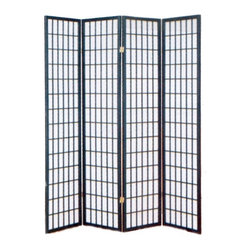 Asia Direct Home - 4-Panel Shoji Room Divider Screen w Black Fra - Four panel. Wooden frame. Thickness: 1 in.. Overall: 68 in. W x 70 in. H