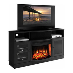 Furnitech - Paxton Electric Fireplace Entertainment Center in Matte Black - FT64CFB - The Paxton Electric Fireplace Entertainment Center in Matte Black instantly makes any room look contemporary and sophisticated. Clean, crisp lines add to minimalist appeal and ample storage compartments help organize your media components and keep wires tidy.