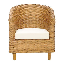 Safavieh - Vista Chair - It's a wrap. Surround yourself with the comfort and transitional style of the woven rattan Vista Barrel Chair. Crafted with mango wood and rattan in a honey oak finish with upholstered cotton seat cushion, it's the perfect place to dream the day away with a good book.