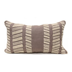 Palermo Pillow - Dark iron grey linen is the deep, smooth background to an attractive herringbone design of woven jute twine in the Palermo Pillow. The detail of this transitional accent cushion is deeper than meets the first glance, however: the jute bars are intricately hand-applied in four different stitch patterns, a faintly rustic but impressively complex way to bring texture to your space in neutral colors with exacting quality. The cushion has a concealed bottom zipper and feather insert.