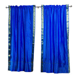 Indian Selections Pair Of Blue Rod Pocket Sheer Sari Curtains 43 X 120 In Size Of Each