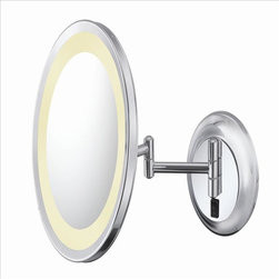 Aptations - Kimball & Young 92445Hw Wall Mirror - Kimball & Young 92445Hw Single-Sided Led Round Wall Mirror - Hardwire 5X Chrome