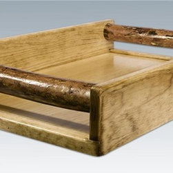 "Montana Woodworks - Glacier Serving Tray - Hand-crafted in the US, each Montana Woodwork product is made from unprocessed, solid wood that highlights the character of its source tree with unique knots and grains. Warranty: 20 year limited. No assembly required. 20 in. L x 14 in. W x 4 in. H (10 lbs.)This serving tray is designed specifically to accompany the bar and deluxe bar also manufactured by Montana Woodworks but will work perfectly well in any rustic entertaining situation! Carry drinks or delights to your friends and guests while being the perfect host. Finished in the ""Glacier Country"" collection style for a truly unique, one-of-a-kind look reminiscent of the Grand Lodges of the Rockies, circa 1900. First we remove the outer bark while leaving the inner, cambium layer intact for texture and contrast. Then the finish is completed in an eight step, professional spraying process that applies stain and lacquer for a beautiful, long lasting finish."