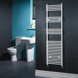 Hudson Reed - Flat White Bar on Bar Towel Rail 65 inches x 18 inches - Flat White Bar on Bar Heated Towel Rail  Dimensions: 65 inch High x 17¾ inch Wide Output: 1,569 BTU's / 460 Watts Pipe Centres: 16 inch Number of cross-bars: 28 divided into 3 sections of 4, 4, 4 and 16 Fixing Pack Included Tested to BS EN442  Warranty: 10 years.  Please Note: Our radiators are designed for forced circulation closed loop systems only. They are not compatible with open loop, gravity hot water or steam systems.
