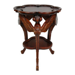 Oriental Furniture - European Dragonfly Occasional Table - A dual-shelved lamp or accent table, hand-crafted out of solid Poplar in a medium and dark stain. Scalloped shelves nest between three large, intricately carved dragonflies with detailed wings, head, eyes, and tails that become scroll legs. Ships fully assembled. From our new collection of hand crafted solid Poplar furniture and accessories.