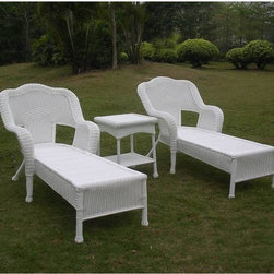 International Caravan - International Caravan Resin Wicker Outdoor 3-piece Chaise Lounge Set - This three-piece outdoor chaise lounge set is a perfect addition to any outdoor or patio setting. This set includes two chairs and a table with a durable powder-coated steel frame and the stylish touch of resin wicker weave.