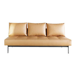 "Innovation USA - ""Innovation USA"" Sly Deluxe Q Camel Leather Sofa Bed with Chromed Legs - ""Innovation USA"" Sly Deluxe Q Camel Leather Sofa Bed with Chromed Legs luxurious solution for your living room or office. It is upholstered in camel leather and has a chromed legs. Sofa can be transformed in bed. It will delight you for many years.    Features:"