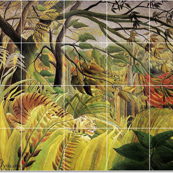 Picture-Tiles, LLC - Surprised Storm In The Jungle Tile Mural By Jean Jacques Rousseau - * MURAL SIZE: 48x60 inch tile mural using (20) 12x12 ceramic tiles-satin finish.