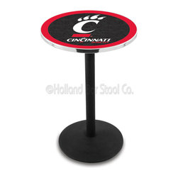 Holland Bar Stool - Holland Bar Stool L214 - Black Wrinkle Cincinnati Pub Table - L214 - Black Wrinkle Cincinnati Pub Table belongs to College Collection by Holland Bar Stool Made for the ultimate sports fan, impress your buddies with this knockout from Holland Bar Stool. This L214 Cincinnati table with round base provides a commercial quality piece to for your Man Cave. You can't find a higher quality logo table on the market. The plating grade steel used to build the frame ensures it will withstand the abuse of the rowdiest of friends for years to come. The structure is powder-coated black wrinkle to ensure a rich, sleek, long lasting finish. If you're finishing your bar or game room, do it right with a table from Holland Bar Stool. Pub Table (1)