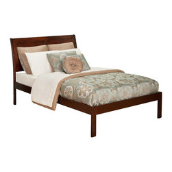 Atlantic Furniture - Atlantic Furniture Portland Bed with Open Foot Rail in Antique Walnut-Queen Size - Atlantic Furniture - Beds - AR8941004