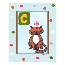 Oh How Cute Kids by Serena Bowman - C is for Cat in Blue, Ready To Hang Canvas Kid's Wall Decor, 8 X 10 - Each kid is unique in his/her own way, so why shouldn't their wall decor be as well! With our extensive selection of canvas wall art for kids, from princesses to spaceships, from cowboys to traveling girls, we'll help you find that perfect piece for your special one.  Or you can fill the entire room with our imaginative art; every canvas is part of a coordinated series, an easy way to provide a complete and unified look for any room.