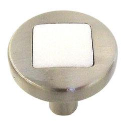 Hickory Hardware - Loft Satin Nickel With White Matte Cabinet Knob - Often characterized with clean, sleek lines.  Marked with solid colors, predominantly muted neutrals or bold bunches of color.  An emphasis on basic shapes and forms.