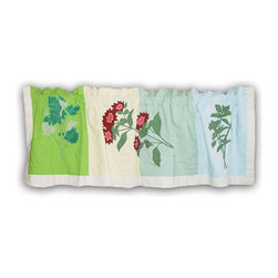 Patch Quilts - Herb Garden Curtain Valance 54 x 16 Inch - Beautifully hand appliqued Valance  - Window Treatments for ensemble and Bedding items from Patch Magic  - Machine washable  - Line or Flat dry only Patch Quilts - CVHERB