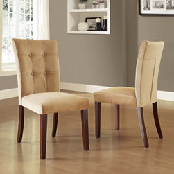 Tribecca Home - TRIBECCA HOME Colyton Tufted Side Chairs (Set of 2) - The casual Colyton collection is a transitional style finished with wood legs in an espresso finish. These side chairs feature tufted accenting on the chairs back,not only to the design but your comfort.