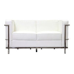 """LexMod - Charles Petite Leather Loveseat in White - Charles Petite Leather Loveseat in White - Urban life has always a quandary for designers. While the torrent of external stimuli surrounds, the designer is vested with the task of introducing calm to the scene. From out of the surging wave of progress, the most talented can fashion a forcefield of tranquility. Perhaps the most telling aspect of the Charles series is how it painted the future world of progress. The coming technological era, like the externalized tubular steel frame, was intended to support and assist human endeavor. While the aesthetic rationalism of the padded leather seats foretold a period that would try to make sense of this growth. The result is an iconic sofa series that became the first to develop a new plan for modern living. If previous generations were interested in leaving the countryside for the cities, today it is very much the opposite. If given the choice, the younger generations would rather live freely while firmly seated in the clamorous heart of urbanism. The Charles series is the preferred choice for reception areas, living rooms, hotels, resorts, restaurants and other lounge spaces. Set Includes: One - Le Corbusier LC2 Loveseat Genuine Leather Seating Surfaces, Stainless Steel Frame, Multi-Density Foam Cushions Overall Product Dimensions: 51""""L x 27.5""""W x 26""""H Seat Height: 17""""H - Mid Century Modern Furniture."""