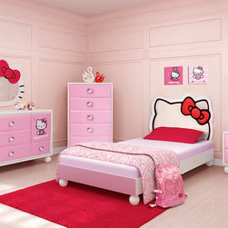 Kids Furniture - With the Hello Kitty Bedroom in a Box, you can have your very own slice of Hello Kitty heaven! The set comes with the bed with the upholstered silhouette of Hello Kitty, a dresser, nightstand, and a matching wall mirror. With the fantastic Hello Kitty Bedroom in a Box, the only things missing are the bedroom to put it in and a girl to cherish it.