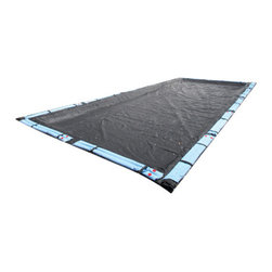 Blue Wave - Blue Wave Rectangular Rugged Mesh Cover - 25 ft x 50 ft - In-ground Arctic Armor; rugged mesh winter cover environmentally friendly cover saves time and money in the spring! our rugged mesh cover makes spring clean-up a snap. The secret to this unique cover is the tightly woven scrim that holds together ensuring that no gaps or holes develop. Rugged mesh allows only rain water and very fine silt to pass through. Since the cover is made of mesh that is very lightweight, simply lift it off in the spring. No heavy water to lift off or time consuming cover pumping. Simply remove rugged mesh, vacuum up the fine silt and open your pool. Rugged mesh fine mesh allows rain and snow to slowly fill your pool, saving water and chemicals in the spring. Since our scrim is so tightly woven, the cover allows almost no sunlight through and ensures an algae-free pool in the spring. Arctic armor; rugged mesh covers are made from tough U.V. -protected woven polyethylene that is strong enough to handle ice, snow, sleet and high winds. Rugged double-stitched hems are triple reinforced for strength and the cover black underside retards algae growth. All Arctic Armor; rugged mesh covers have a 5 foot overlap with loops every four feet to secure water bags. Corner grommets allow for extra tie down in windy areas. Backed by an 8 year warranty.
