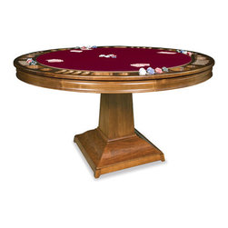 "California House - robie 48-in reversible poker table - These solid hardwood tables are custom-crafted in the US in maple with your choice of four wood finishes and four felt colors. Choose from Berkeley, Claridge, Robie or Taliesin base styles. All tables available in 42"", 48"", 54"", 60"",  and 66"", diameter. The gaming top reverses to a dining top to extend the utility of your table for everyday use."