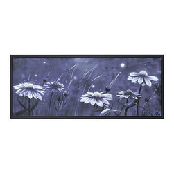 Ren-Wil - Ren-Wil OL855 WhispersMia Archer Collection - This hand embellished whimsical image features a field of daisies in the midnight sky done in rich black and white and framed with a matching black frame.