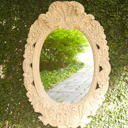 NM EXCLUSIVE - NM EXCLUSIVE Scroll Outdoor Mirror - Exclusively ours. Add a little magic to your outdoor spaces with this mirror that's designed to be used in the garden or on a patio. Outdoor safe. Intricately detailed frame is handcrafted of agglomerated stone with a lacquer finish. Lightweight bu...