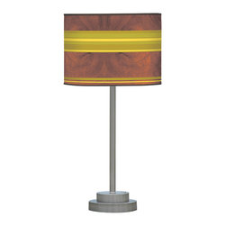 jefdesigns - Horizontal Stripey 1 Stem Table Lamp - Harkening back to a time when station wagons had wood panels and skateboards had stripes, this retro-inspired lamp will add wit and whimsy to your table. In cool vintage colors of brown, green and gold, this lamp is totally groovy.