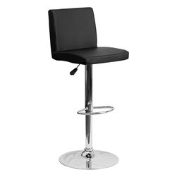 "Flash Furniture - Contemporary Black Vinyl Adjustable Height Bar Stool with Chrome Base - This dual purpose stool easily adjusts from counter to bar height. The simple design allows it to seamlessly accent any area in the home. Not only is this stool stylish, but very comfortable to provide you with an amazing sitting experience! The easy to clean vinyl upholstery is an added bonus when stool is used regularly. The height adjustable swivel seat adjusts from counter to bar height with the handle located below the seat. The chrome footrest supports your feet while also providing a contemporary chic design. Counter Height or Bar Stool; Black Vinyl Upholstery; Comfortable Seat with Mid-Back; Swivel Seat; Height Adjustable Seat with Gas Lift; Foot Rest; Chrome Base; Base Diameter: 17.625""; CA117 Fire Retardant Foam; Designed for Residential Use; Overall dimensions: 15.5""W x 18.5""D x 35.25"" - 43.75""H"