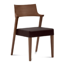 DomItalia Furniture - Lirica Walnut Dining Chair / Dark Brown Leather Seat (Set of 2) - Supported by a solid beechwood frame, the Lirica Dining Chair is a stylish addition to your dining table. With black leather upholstered seat, your new dining room decor will become a pure poetry!