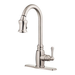"Danze - Danze D454557SS Kitchen Pull-Down Stainless Steel - Danze D454557SS Stainless Steel Single Handle Pull-Down Kitchen Faucet is part of the Opulence Kitchen collection.  D454557SS Single hole mount Pull-Down Kitchen Faucet has a 7 1/2"" long and 17 3/4"" high spout, with 2 function spray/aerated stream.  Optional deck plate included.  D454557SS Single lever handle meets all requirements of ADA.  California and Vermont compliant."