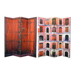 Oriental Furniture - 6 ft. Tall Double Sided Doors Canvas Room Divider 4 Panel - Fine gallery quality photographs of distinctive, colorful doors and doorways from the capitals of old Europe. Modern technology allows us to enlarge and print appealing images on light weight, sturdy four panel room dividers. Art quality canvas stretched over mitered wood frames; beautiful, affordable, useful decorative accessories.