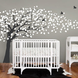 Cherry Blossom Tree - Elegant Style Wall Decal - This is a mature version of our Trailing Cherry Blossom Tree. Make it the focal point of your living room, family room or bedroom!