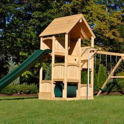 Canterbury with Options - White cedar swing set with slide and fire pole.