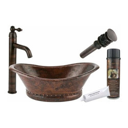 Premier Copper Products - Bath Tub Copper Vessel w/ORB Vessel Faucet - BSP1_VBT20DB Premier Copper Products Bath Tub Vessel Hammered Copper Sink with ORB Single Handle Vessel Faucet, Matching Drain and Accessories