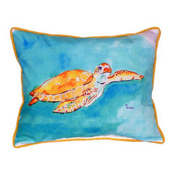 Betsy Drake Interiors - Betsy Drake Brown Sea Turtle Indoor/Outdoor Pillow - Use Indoors Or Outdoors.  Makes You Smile.  Brightens Up Any Room Or Patio.  Fade Resistant, Tough And Durable.  Spot Clean Or Machine Wash.
