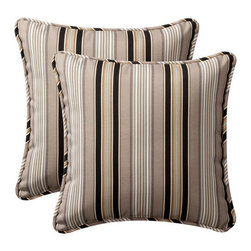 Pillow Perfect - Decorative Black/Beige Striped Toss Pillows Square , Set of Two - - Black/Beige  - 100% Polyester  - 100% Virgin Recycled Polyester Fill  - Self-Cord Edge  - Fade Resistant, Mildew Resistant, UV Protection, Water Resistant, Weather Resistant  - Made in USA Pillow Perfect - 386935