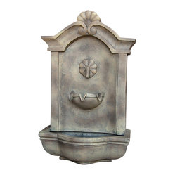 "Serenity Health & Home Decor - Marina Outdoor Wall Fountain Florentine Stone - Dimensions: 17""Wide x 10.5"" Deep x 29.5""High, 14 lbs"