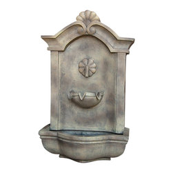 "Sunnydaze Decor - Marina Outdoor Wall Fountain Florentine Stone - Dimensions: 17""Wide x 10.5"" Deep x 29.5""High, 14 lbs"