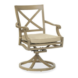 Thos. Baker - Catalina Outdoor Swivel Rocker|Navy Cushion - The catalina collection features subtly weathered heavy-gauge aluminum frames, elegantly set-off with romantic accents and a classic crossback style. Plush cushion sets are covered in premium Sunbrella outdoor fabrics made-to-order in your choice of signiture solid and textured colors or premium woven and striped patterns.Signature or premium cushion sales are final and ship in 2-3 weeks.