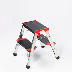 "Frontgate - Championsline Step Stool - Extra-deep steps with nonslip ribbing and corner reinforcements. 225 kg/496 lbs. maximum load capacity meets class EN131 commercial rating. Folds to 5"" deep. Aluminum with black and red accents. Our German-engineered Lightweight Championsline Step Stool makes your safety the highest priority. Crafted of the finest commercial-grade aluminum, the extremely durable stool features a solid platform at the very top step.  .  .  . ."
