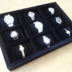 Watch Oganizer - Black velvet watch organizer with 9 partitions with pillows for watches.