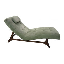 ecofirstart - Midcentury Modern Chaise - Sometimes you want to chase your dreams. Sometimes you dream of a good chaise. This fabulous find is curvy and cool, with a tufted cushion and pillow perched atop a midcentury inspired ebonized wood frame. Lounge back and let your dreams take flight.