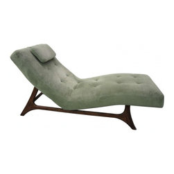 EcoFirstArt - Mid-century Modern Chaise - Sometimes you want to chase your dreams. Sometimes you dream of a good chaise. This fabulous find is curvy and cool, with a tufted cushion and pillow perched atop a midcentury inspired ebonized wood frame. Lounge back and let your dreams take flight.