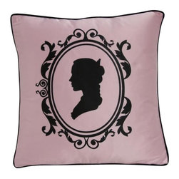 VIG - Modrest Transitional Pink And Black Print Throw Pillow, Pink - Modrest Transitional Pink And Black Print Throw Pillow