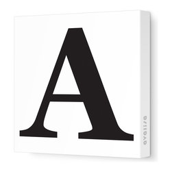 """Avalisa - Letter - Upper Case 'A' Stretched Wall Art, Black, 12"""" x 12"""" - Spell it out loud. These uppercase letters on stretched canvas would look wonderful in a nursery touting your little one's name, but don't stop there; they could work most anywhere in the home you'd like to add some playful text to the walls. Mix and match colors for a truly fun feel or stick to one color for a more uniform look."""